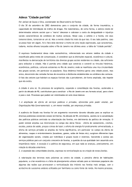 """Adeus """"Cidade partida"""" - Observatório de Favelas"""