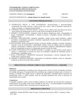 Sociologia II - Universidade Católica Portuguesa
