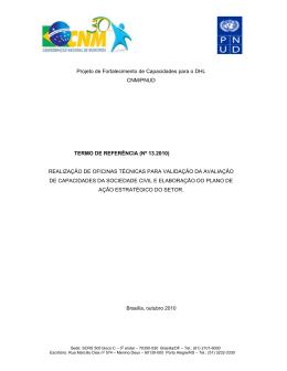 (n 13.2010 - Oficina Sociedade Civil) (Publicado em: 21/10/2010)
