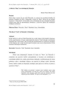 """90 A idéia de """"Deus"""" na cristologia de Nietzsche"""