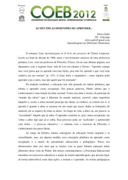 AS MÚLTIPLAS DIMENSÕES DO APRENDER... Sílvio Gallo FE