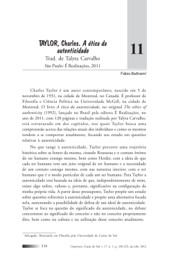 TAYLOR, Charles. A ética da autenticidade
