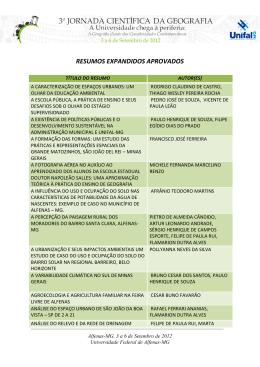 resumos expandidos aprovados - Unifal-MG