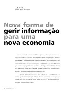 Nova forma de gerir informação para uma nova economia