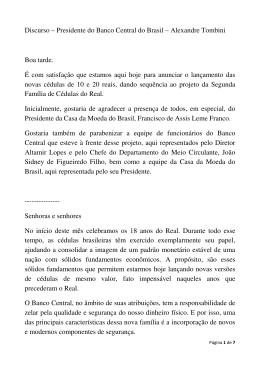 Discurso – Presidente do Banco Central do Brasil – Alexandre