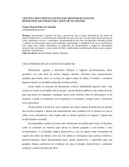 GESTÃO E DOCUMENTAÇÃO EM EAD: REGISTRAR O