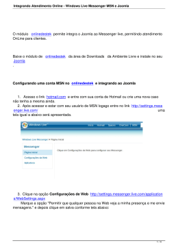 Integrando Atendimento Online - Windows Live Messenger MSN e