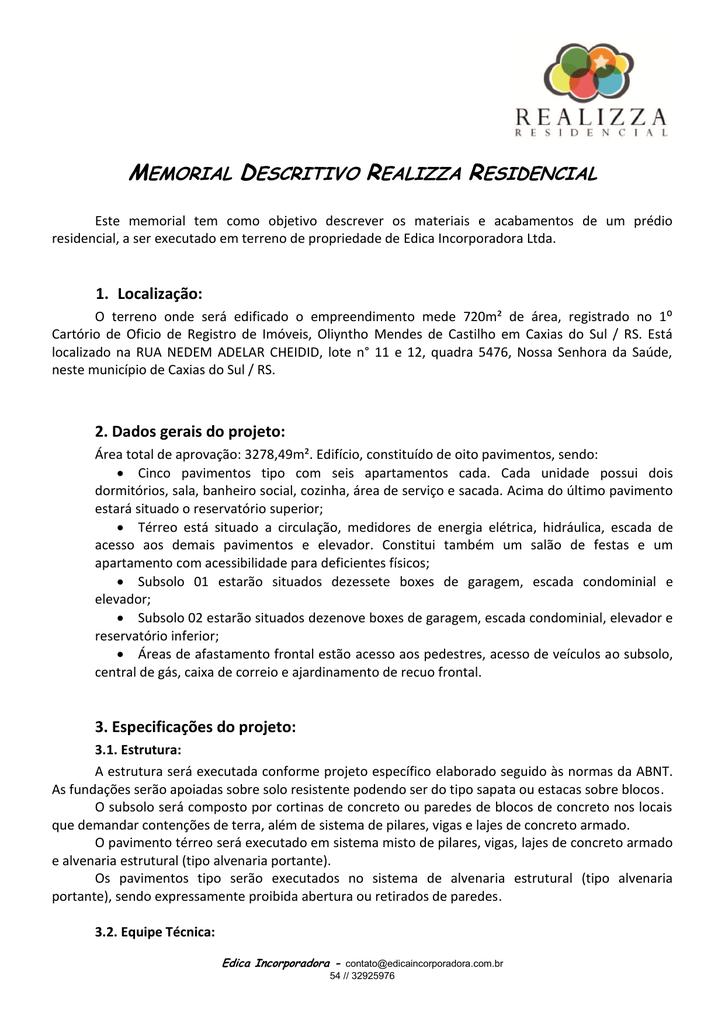 Memorial Descritivo Realizza Residencial