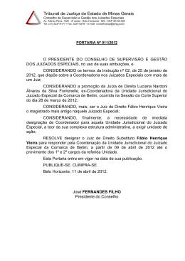 Portaria nº011/2012 - Tribunal de Justiça de Minas Gerais
