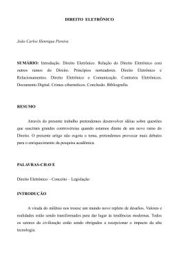 DIREITO ELETRÔNICO João Carlos Henrique Pereira SUMÁRIO