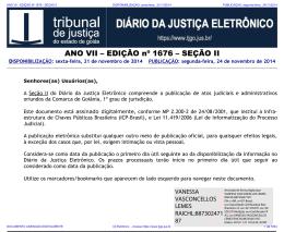 TJ-GO DIÁRIO DA JUSTIÇA ELETRÔNICO - EDIÇÃO 1676