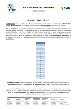 LOCAIS DE PROVA - TEP 2015 - Sociedade Brasileira de Pediatria