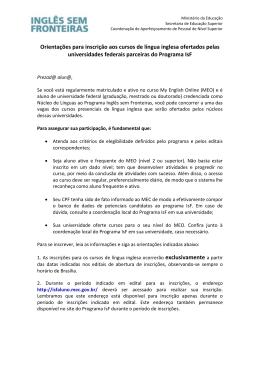 Orientações para inscrição aos cursos de língua inglesa