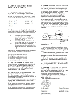 2ª LISTA DE EXERCÍCIOS – FÍSICA PROF: LÉLIO M RIBEIRO