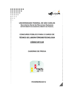 TÉCNICO DE LABORATÓRIO/BIOTECNOLOGIA CÓDIGO 00112.08