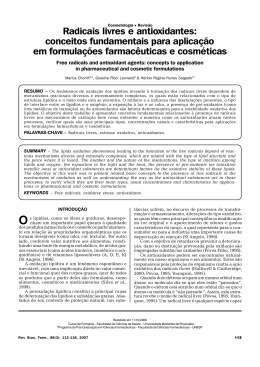 Radicais livres e antioxidantes - Revista Brasileira de Farmácia