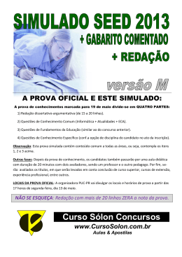Prova Simulada SEED-Paraná 2013 – Resolvida & Comentada (Mgá)