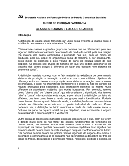 CLASSES SOCIAIS E LUTA DE CLASSES