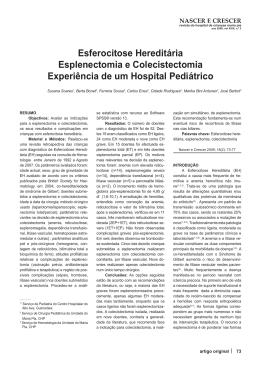 Esferocitose Hereditária Esplenectomia e Colecistectomia