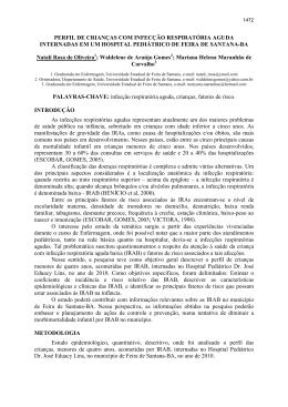 PERFIL DE CRIANÇAS COM INFECÇÃO