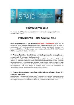 PRÉMIOS SPAIC 2014 PRÉMIO SPAIC – BIAL Aristegui 2014