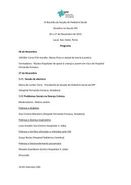 III Reunião da Secção de Pediatria Social Desafios no Seculo XXI