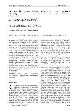 A nação corporativista de Caio Prado Júnior