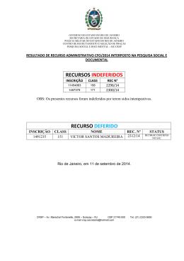 RECURSOS INDEFERIDOS RECURSO DEFERIDO