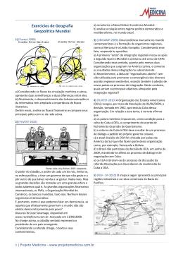 Exercícios de Geografia Geopolítica Mundial