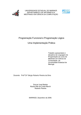Programação Funcional e Programação Lógica Uma