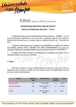 Edital Ingresso 2014/2 semestre