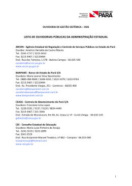 Ouvidorias do Governo do Estado - SEAD | Secretaria de Estado de