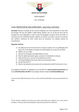 Função: INSTRUTOR DE VOO AVIÃO (M/F) - (part-time / full