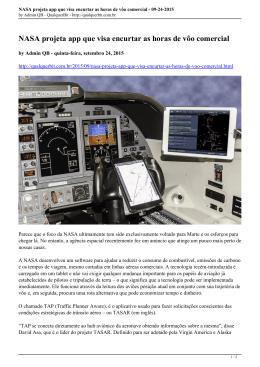 NASA projeta app que visa encurtar as horas de vôo