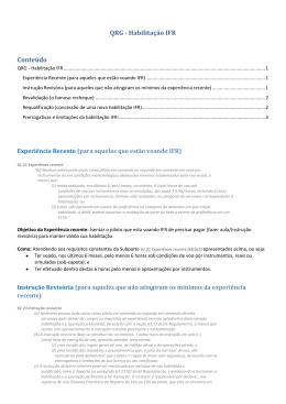 QRG - Habilitação IFR Conteúdo