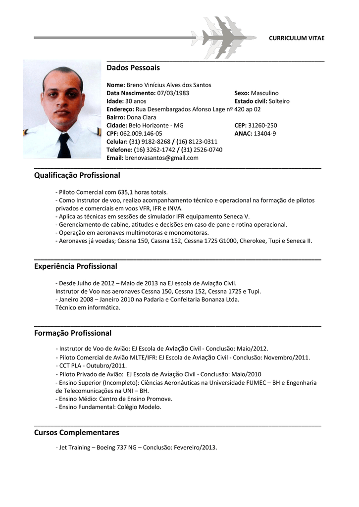 curriculum vitae piloto aviao