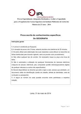 Enunciado da prova de Geografia - Instituto Politécnico de Leiria