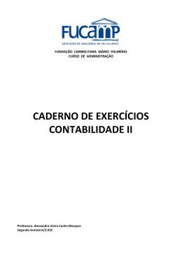 CADERNO DE EXERCÍCIOS CONTABILIDADE II