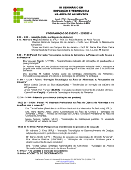 III SEMINÁRIO EM INOVAÇÃO E TECNOLOGIA NA ÁREA DE ALIMENTOS Dra