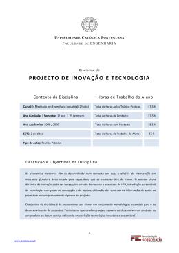 Projecto de Inovação e tecnologia - Universidade Católica Portuguesa