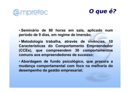 CT FCE - Apresentação Empretec - Cesta SEBRAE