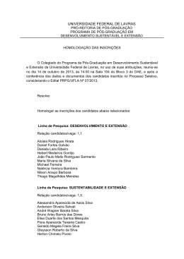 Homologação das inscrições - PRPG