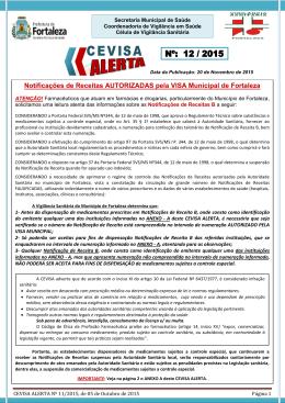 Alerta Nº 12/2015 da Vigilância Sanitária sobre Notificação de Receita