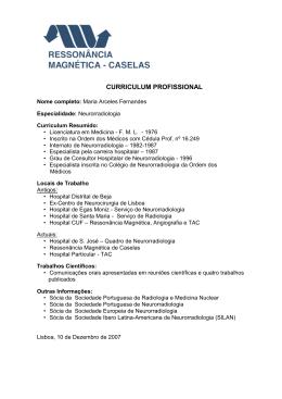 CURRICULUM PROFISSIONAL - Ressonância Magnética de Caselas