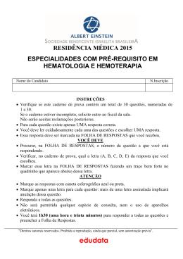 Especialidades com Pré-requisito em Hematologia e Hemoterapia