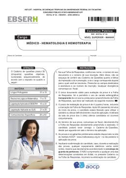 MÉDICO - HEMATOLOGIA E HEMOTERAPIA