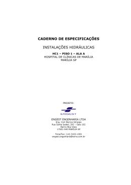 caderno de especificações instalações hidráulicas
