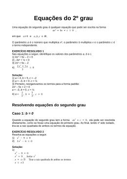 Equações do 2o grau