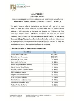 ata n° 001/2015 prova de inglês processo seletivo para ingresso no
