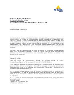 Prefeitura Municipal de Rio Verde Sr. Marcello Carvalho Toledo